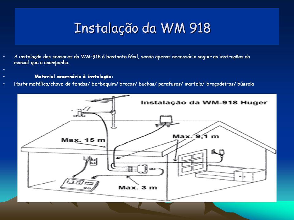 Instalação da WM 918 Instalação da WM 918 A instalação dos sensores da WM-918 é bastante fácil, sendo apenas necessário seguir as instruções do manual que a acompanha.
