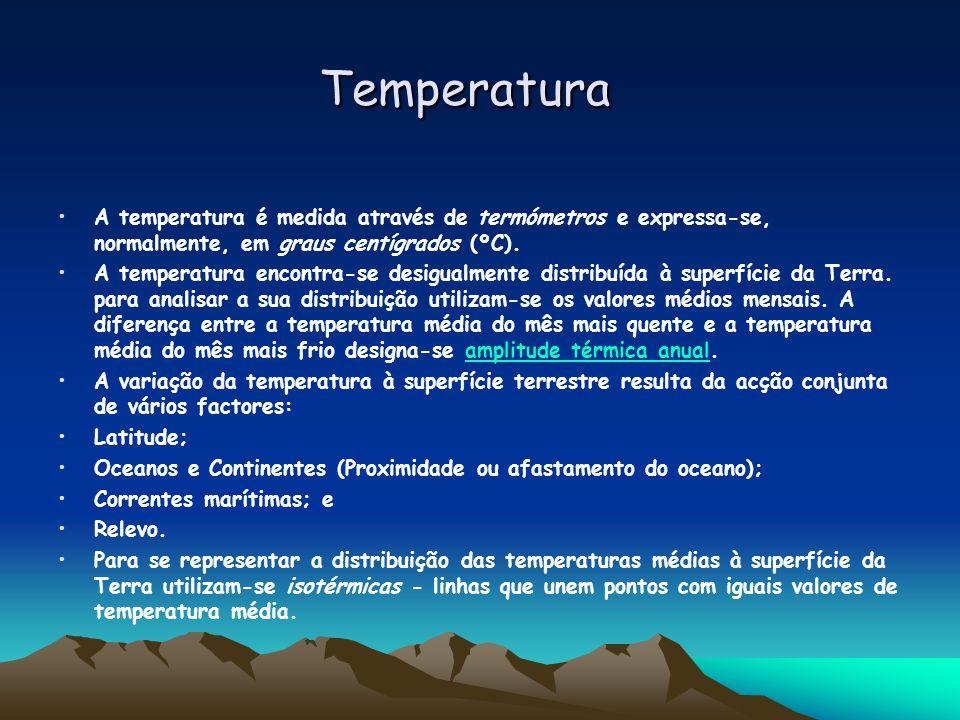 Temperatura Temperatura A temperatura é medida através de termómetros e expressa-se, normalmente, em graus centígrados (ºC).