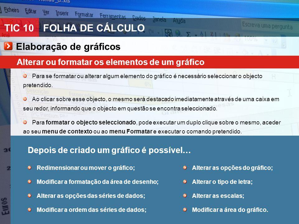 TIC 10FOLHA DE CÁLCULO Alterar ou formatar os elementos de um gráfico Para se formatar ou alterar algum elemento do gráfico é necessário seleccionar o objecto pretendido.