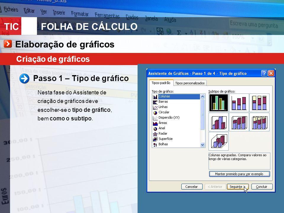 TIC 10FOLHA DE CÁLCULO Criação de gráficos Passo 1 – Tipo de gráfico Nesta fase do Assistente de criação de gráficos deve escolher-se o tipo de gráfico, bem como o subtipo.