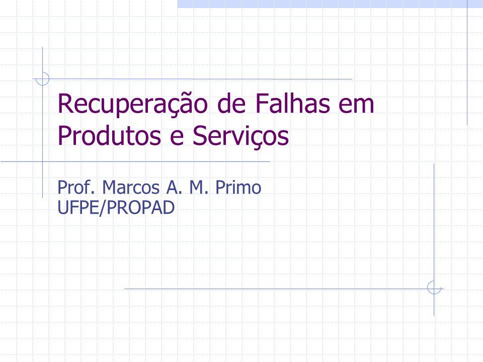 Recuperação de Falhas em Produtos e Serviços Prof. Marcos A. M. Primo UFPE/PROPAD