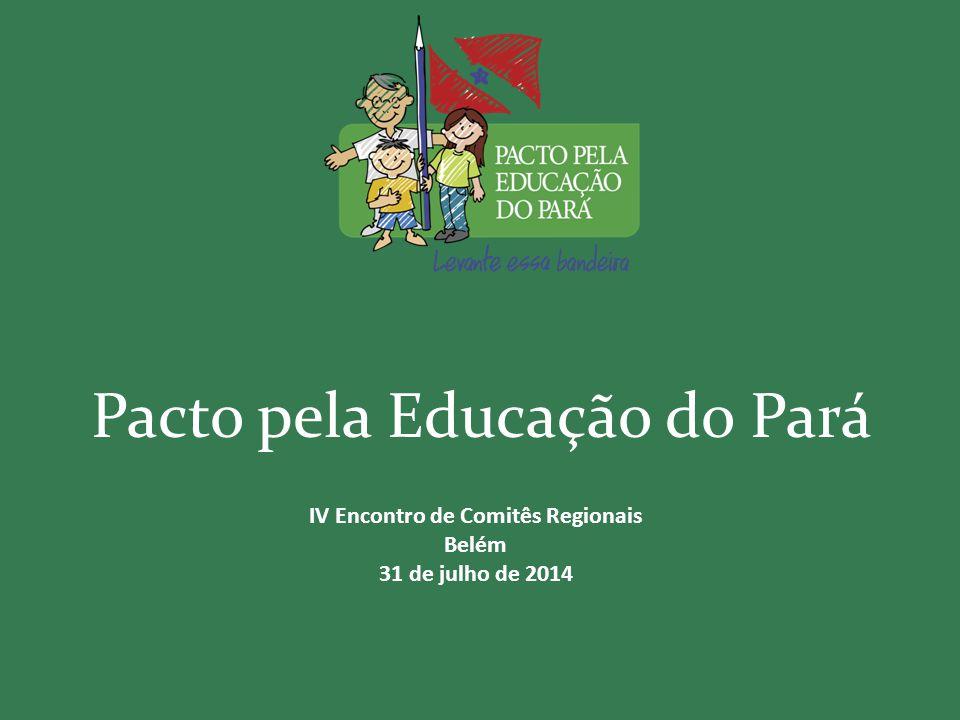 Pacto pela Educação do Pará IV Encontro de Comitês Regionais Belém 31 de julho de 2014