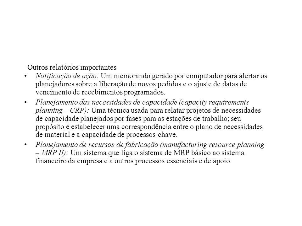 Notificação de ação: Um memorando gerado por computador para alertar os planejadores sobre a liberação de novos pedidos e o ajuste de datas de vencime