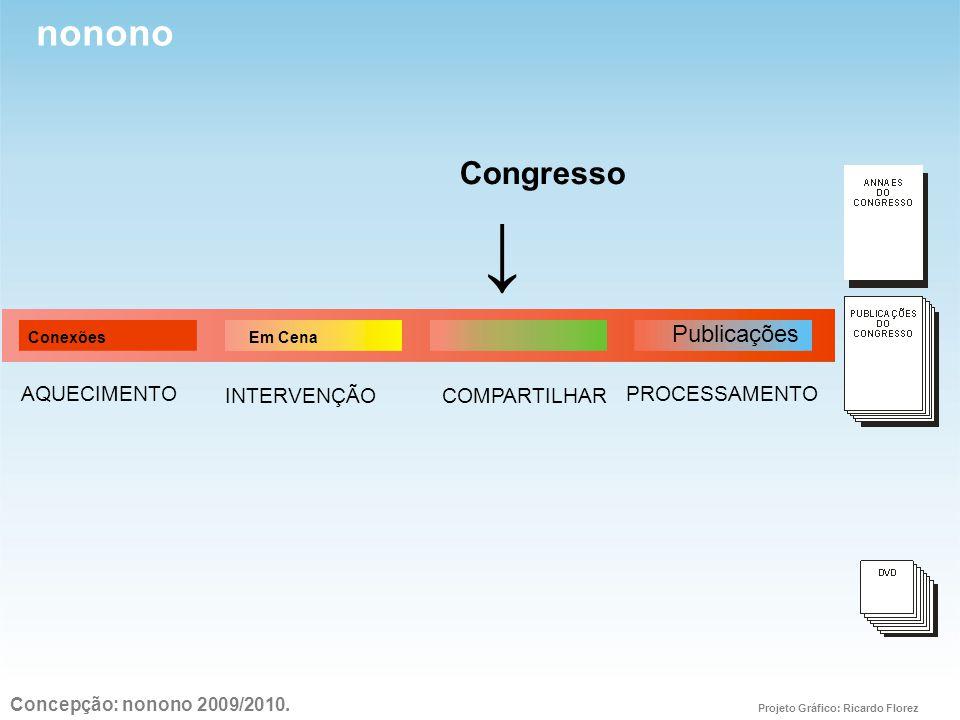 nonono ↓ Congresso PROCESSAMENTOAQUECIMENTO INTERVENÇÃOCOMPARTILHAR Conexões Em Cena Publicações Concepção: nonono 2009/2010.