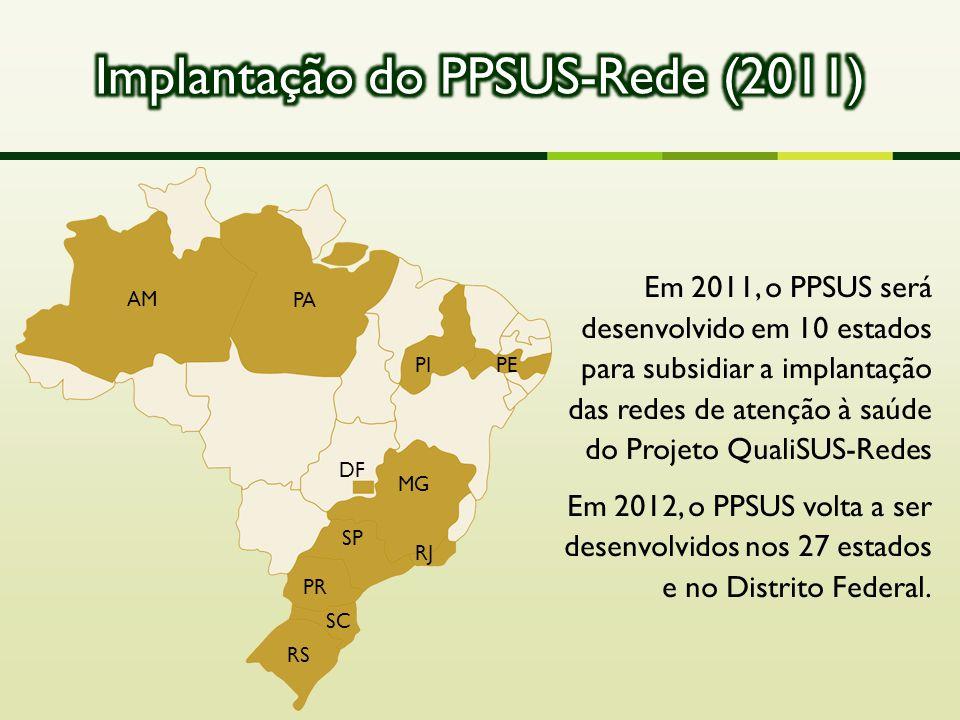 RS SC PR SP RJ MG AM PA PIPE DF Em 2011, o PPSUS será desenvolvido em 10 estados para subsidiar a implantação das redes de atenção à saúde do Projeto