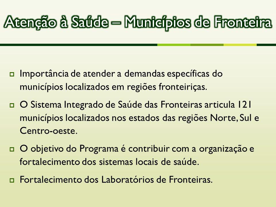  Importância de atender a demandas específicas do municípios localizados em regiões fronteiriças.  O Sistema Integrado de Saúde das Fronteiras artic