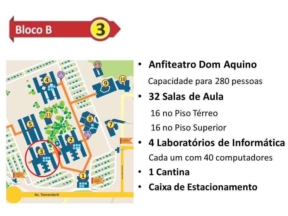 Anfiteatro Dom Aquino Capacidade para 280 pessoas 32 Salas de Aula 16 no Piso Térreo 16 no Piso Superior 4 Laboratórios de Informática Cada um com 40 computadores 1 Cantina Caixa de Estacionamento