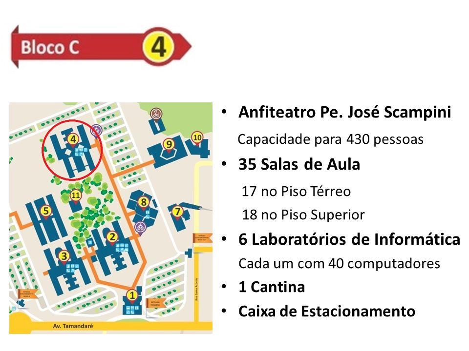 Anfiteatro Pe. José Scampini Capacidade para 430 pessoas 35 Salas de Aula 17 no Piso Térreo 18 no Piso Superior 6 Laboratórios de Informática Cada um