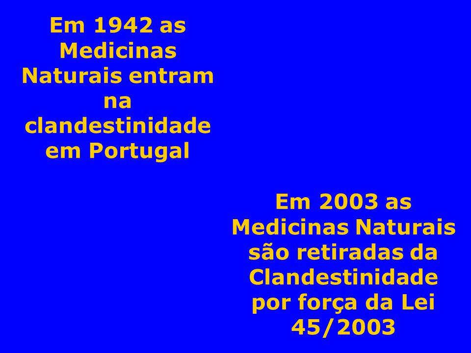 Em 1942 as Medicinas Naturais entram na clandestinidade em Portugal Em 2003 as Medicinas Naturais são retiradas da Clandestinidade por força da Lei 45
