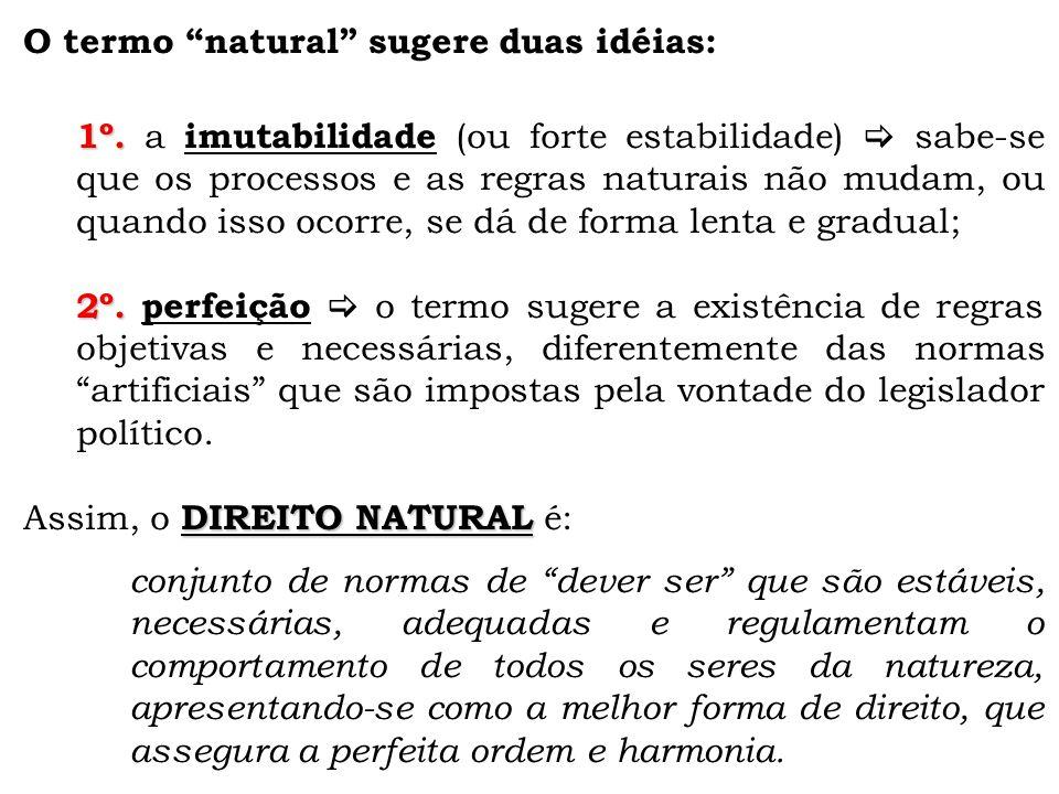 O termo natural sugere duas idéias: 1º.1º.