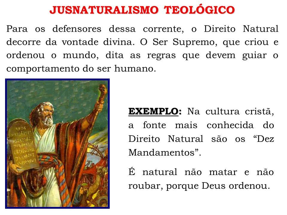 JUSNATURALISMO TEOLÓGICO Para os defensores dessa corrente, o Direito Natural decorre da vontade divina.