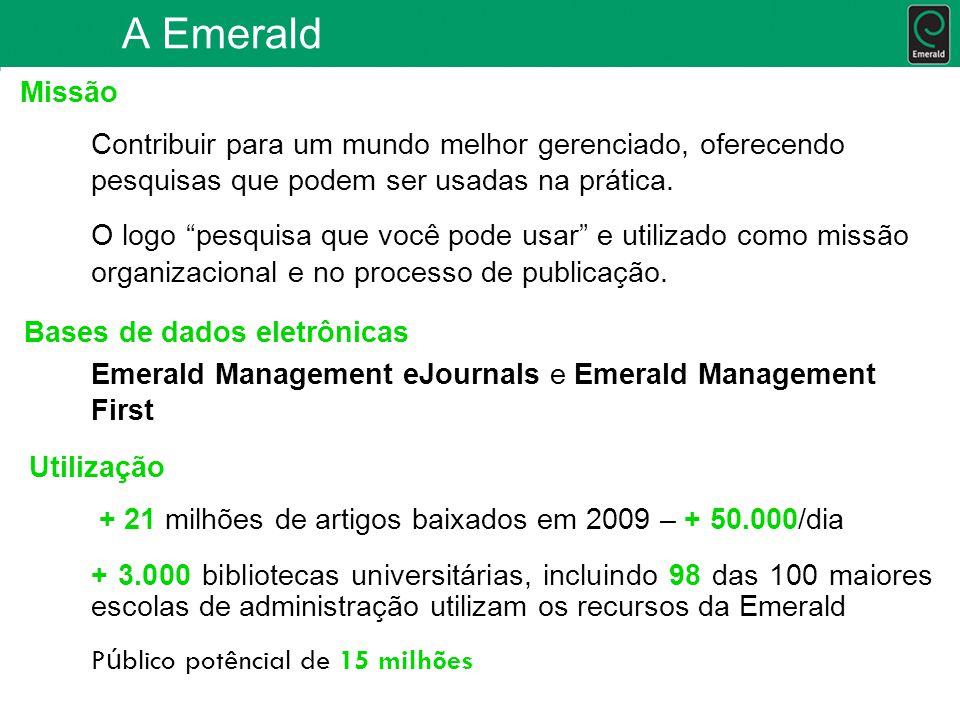 Recursos para Suporte Acesse: dúvidas mais freqüentes; posters; guias passo a passo; textos padrões para divulgação aos usuários do conteúdo da Emerald; conteúdo oferecido pela base; maiores informações sobre os títulos da Emerald.