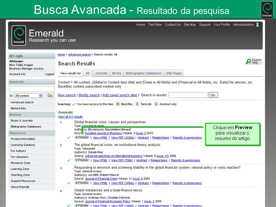 Busca Avancada - Resultado da pesquisa Clique em Preview para visualizar o resumo do artigo