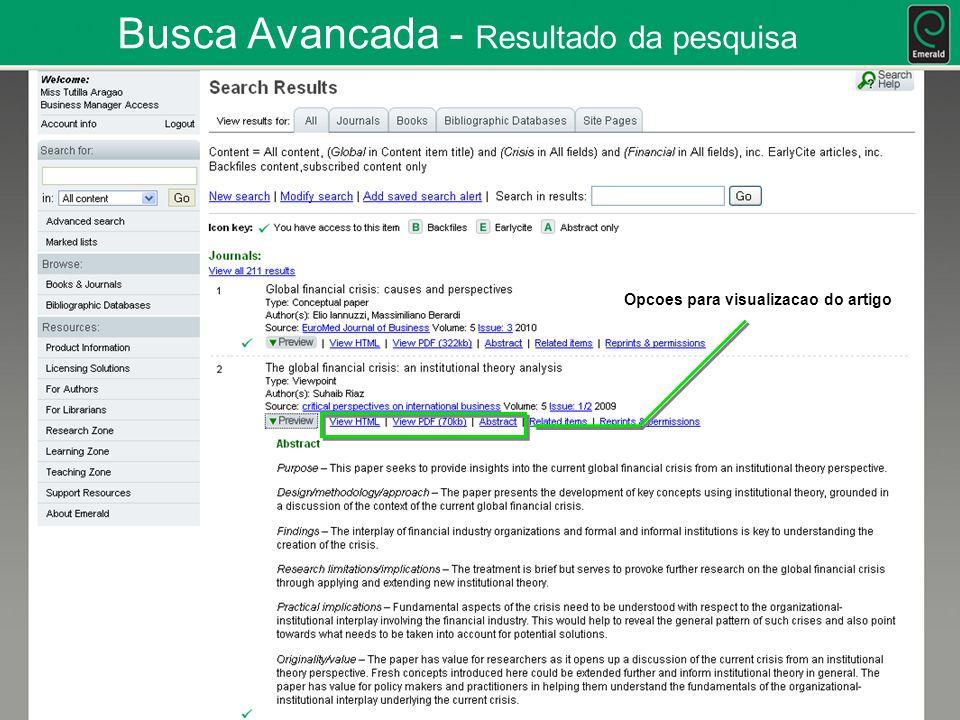 Busca Avancada - Resultado da pesquisa Opcoes para visualizacao do artigo