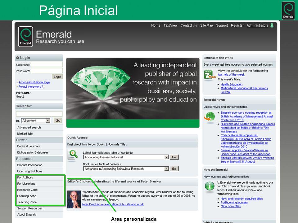 Página Inicial Area personalizada