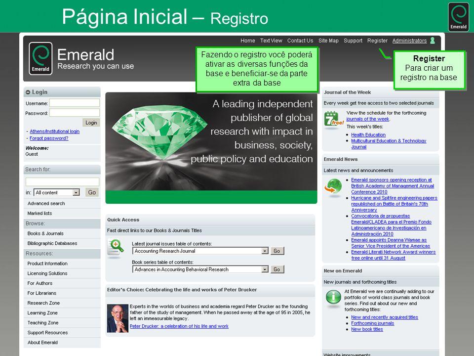 Página Inicial – Registro Register Para criar um registro na base Fazendo o registro você poderá ativar as diversas funções da base e beneficiar-se da parte extra da base