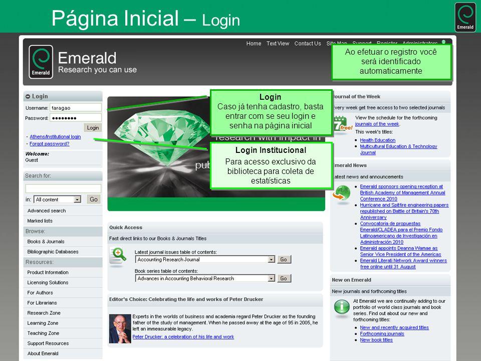 Página Inicial - Meu Perfil Ao efetuar o registro você verá a opcao Your Profile