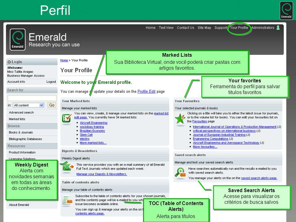 Perfil Marked Lists Sua Biblioteca Virtual, onde você poderá criar pastas com artigos favoritos.