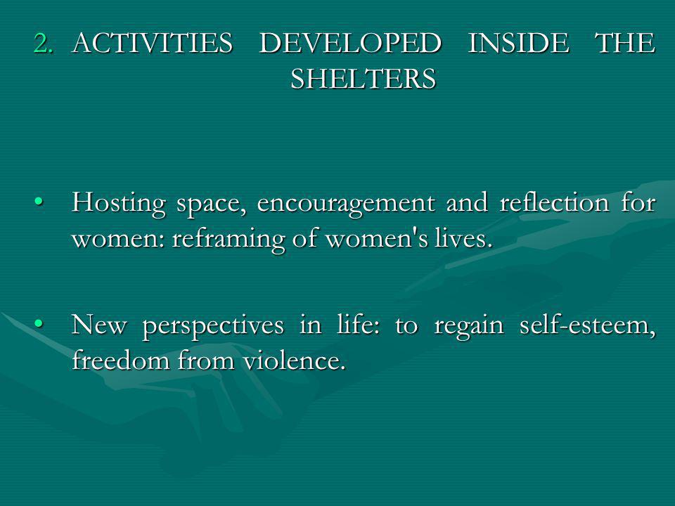 2.ACTIVITIES DEVELOPED INSIDE THE SHELTERS Hosting space, encouragement and reflection for women: reframing of women's lives.Hosting space, encouragem