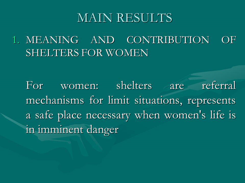 MAIN RESULTS 1.MEANING AND CONTRIBUTION OF SHELTERS FOR WOMEN For women: shelters are referral mechanisms for limit situations, represents a safe plac