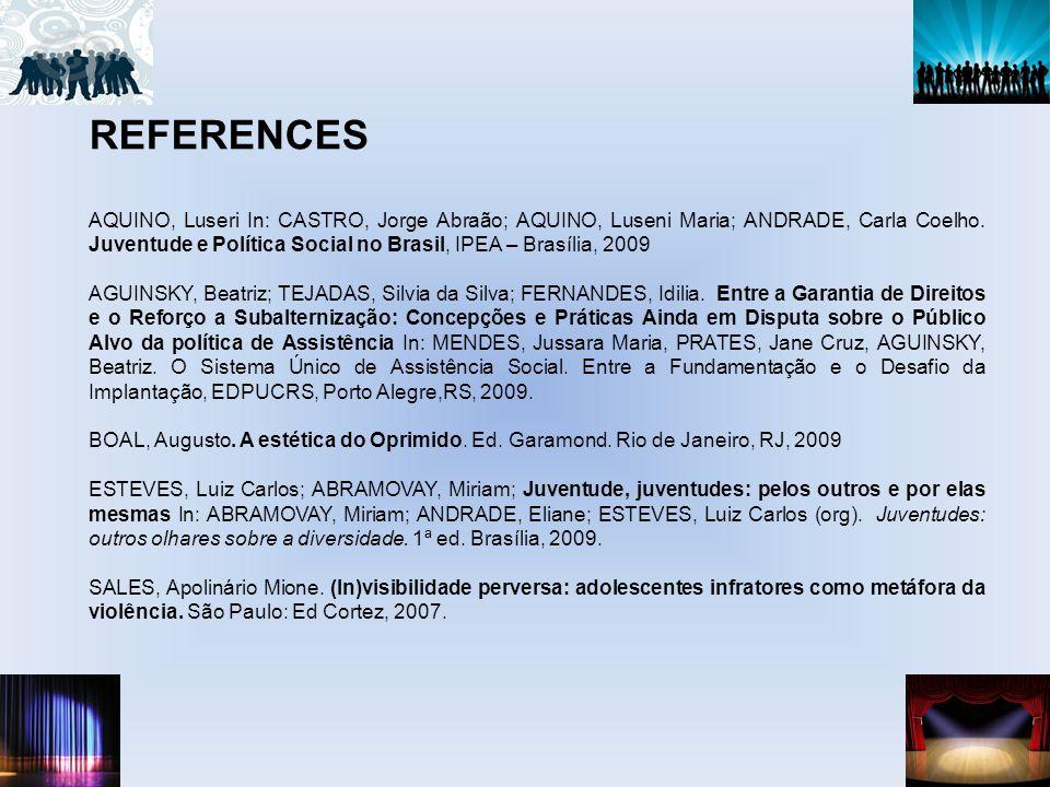REFERENCES AQUINO, Luseri In: CASTRO, Jorge Abraão; AQUINO, Luseni Maria; ANDRADE, Carla Coelho.