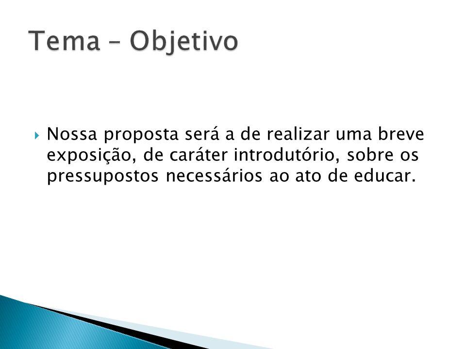  Nossa proposta será a de realizar uma breve exposição, de caráter introdutório, sobre os pressupostos necessários ao ato de educar.