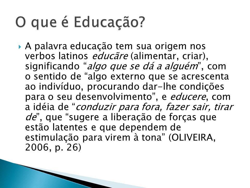 """ A palavra educação tem sua origem nos verbos latinos educãre (alimentar, criar), significando """"algo que se dá a alguém"""", com o sentido de """"algo exte"""