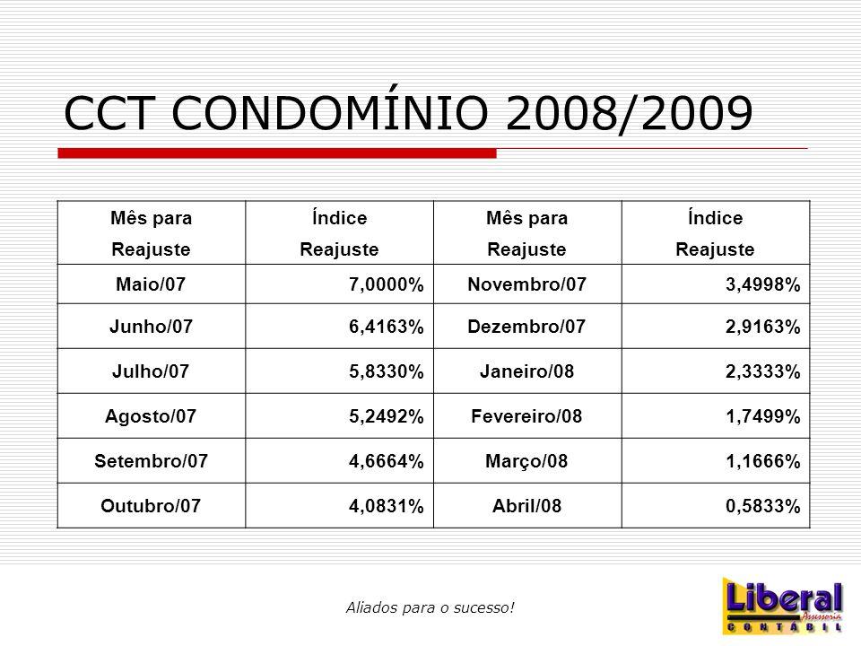 CCT CONDOMÍNIO 2008/2009 Mês paraÍndiceMês paraÍndice Reajuste Maio/077,0000%Novembro/073,4998% Junho/076,4163%Dezembro/072,9163% Julho/075,8330%Janei