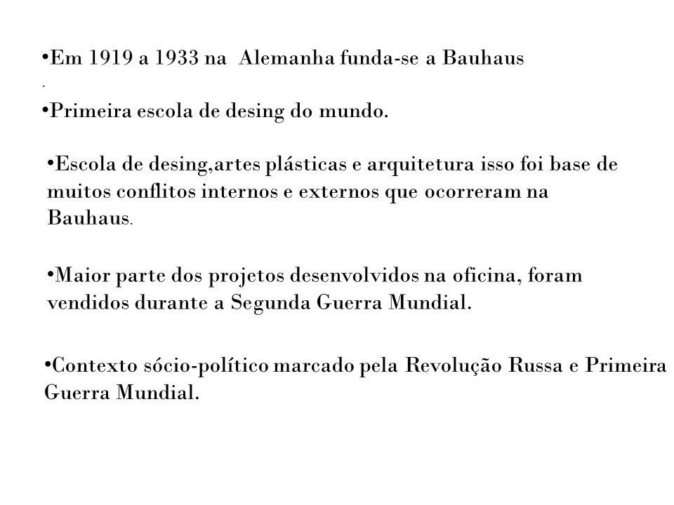 Em 1919 a 1933 na Alemanha funda-se a Bauhaus. Primeira escola de desing do mundo. Escola de desing,artes plásticas e arquitetura isso foi base de mui