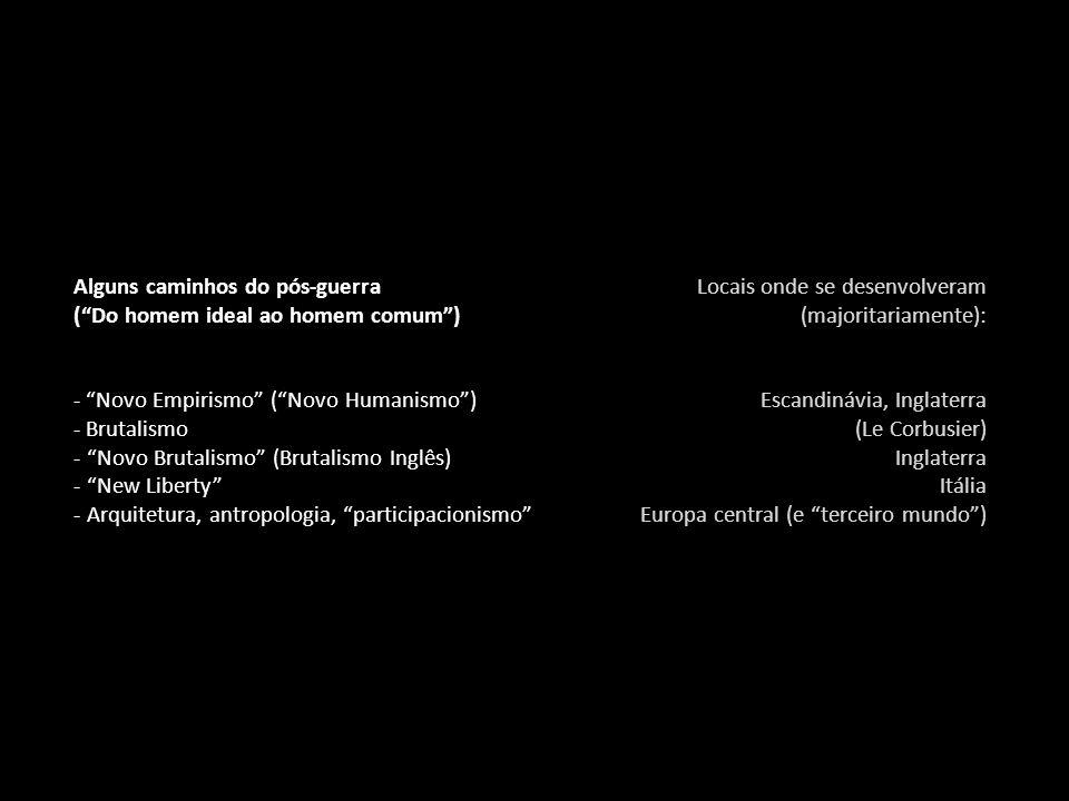 Alguns caminhos do pós-guerra ( Do homem ideal ao homem comum ) - Novo Empirismo ( Novo Humanismo ) - Brutalismo - Novo Brutalismo (Brutalismo Inglês) - New Liberty - Arquitetura, antropologia, participacionismo Locais onde se desenvolveram (majoritariamente): Escandinávia, Inglaterra (Le Corbusier) Inglaterra Itália Europa central (e terceiro mundo )