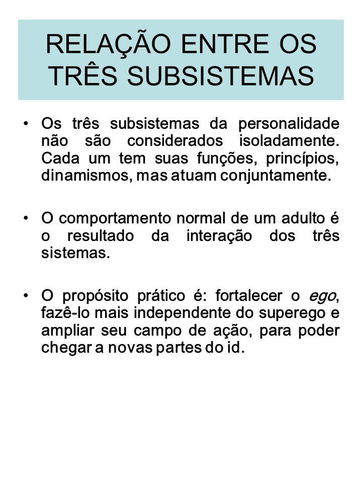 RELAÇÃO ENTRE OS TRÊS SUBSISTEMAS Os três subsistemas da personalidade não são considerados isoladamente. Cada um tem suas funções, princípios, dinami