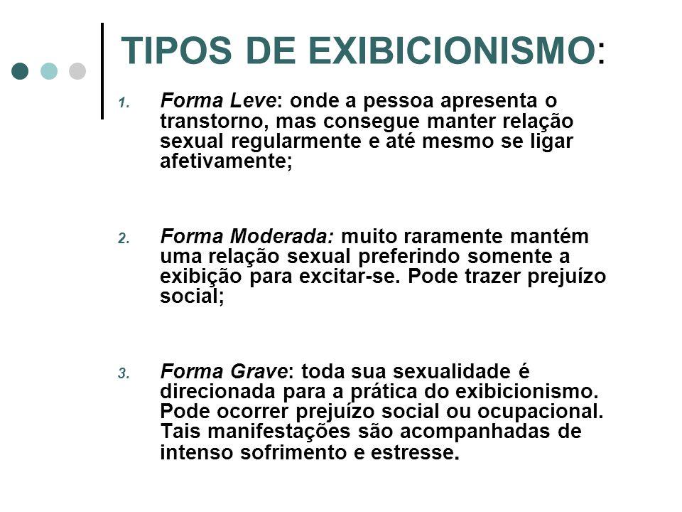 TIPOS DE EXIBICIONISMO : 1. Forma Leve: onde a pessoa apresenta o transtorno, mas consegue manter relação sexual regularmente e até mesmo se ligar afe