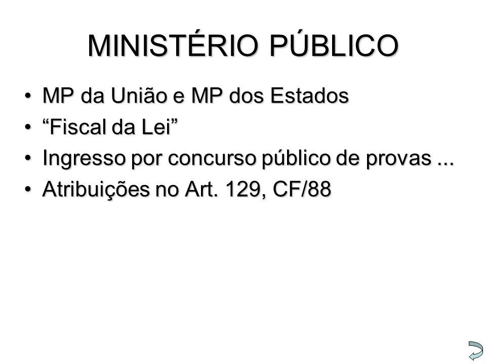"""MINISTÉRIO PÚBLICO MP da União e MP dos EstadosMP da União e MP dos Estados """"Fiscal da Lei""""""""Fiscal da Lei"""" Ingresso por concurso público de provas...I"""