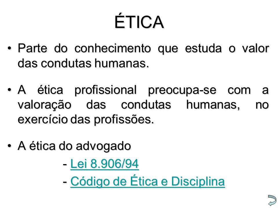 ÉTICA Parte do conhecimento que estuda o valor das condutas humanas.Parte do conhecimento que estuda o valor das condutas humanas. A ética profissiona