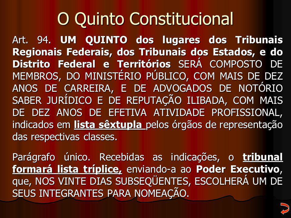 O Quinto Constitucional Art. 94. UM QUINTO dos lugares dos Tribunais Regionais Federais, dos Tribunais dos Estados, e do Distrito Federal e Território