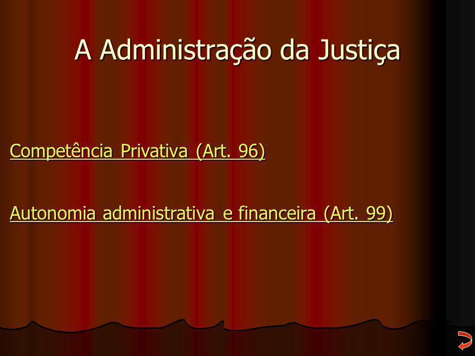 A Administração da Justiça Competência Privativa (Art. 96) Competência Privativa (Art. 96) Autonomia administrativa e financeira (Art. 99) Autonomia a