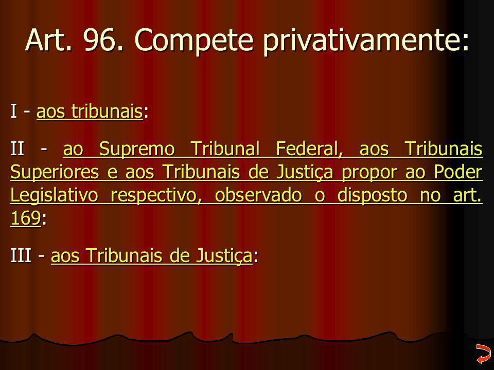Art. 96. Compete privativamente: I - aos tribunais: aos tribunaisaos tribunais II - ao Supremo Tribunal Federal, aos Tribunais Superiores e aos Tribun