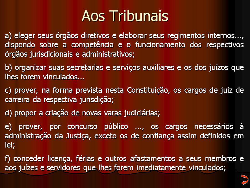 Aos Tribunais a) eleger seus órgãos diretivos e elaborar seus regimentos internos..., dispondo sobre a competência e o funcionamento dos respectivos ó