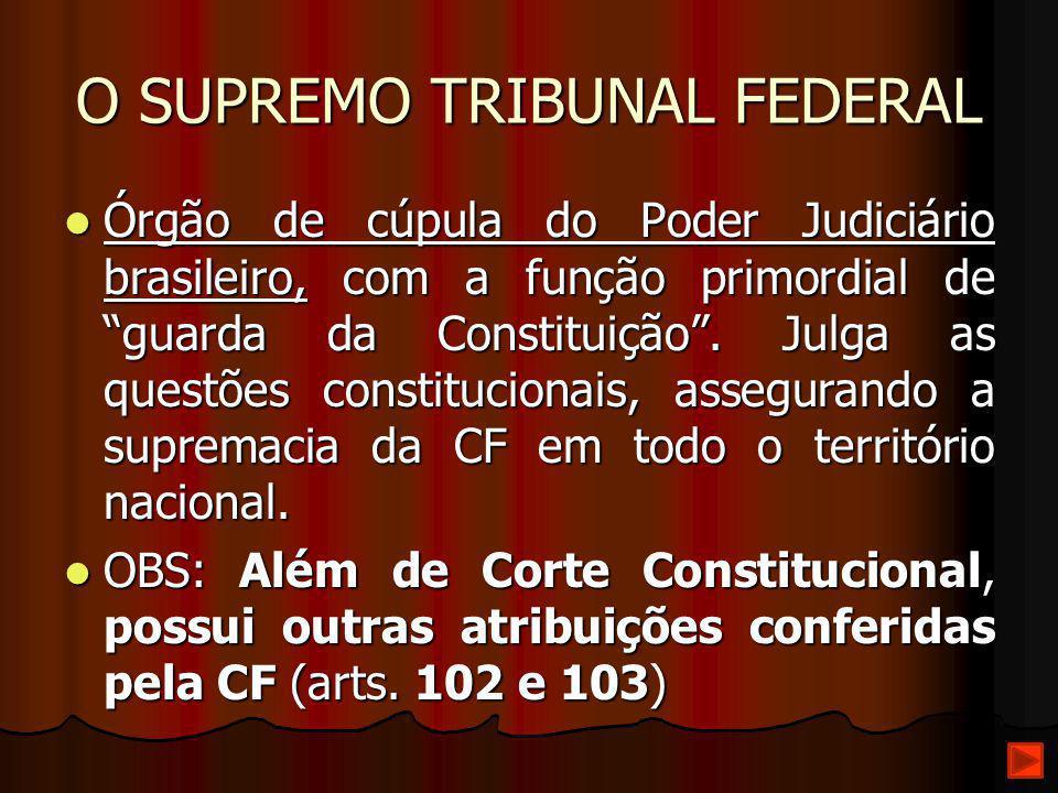 """O SUPREMO TRIBUNAL FEDERAL Órgão de cúpula do Poder Judiciário brasileiro, com a função primordial de """"guarda da Constituição"""". Julga as questões cons"""