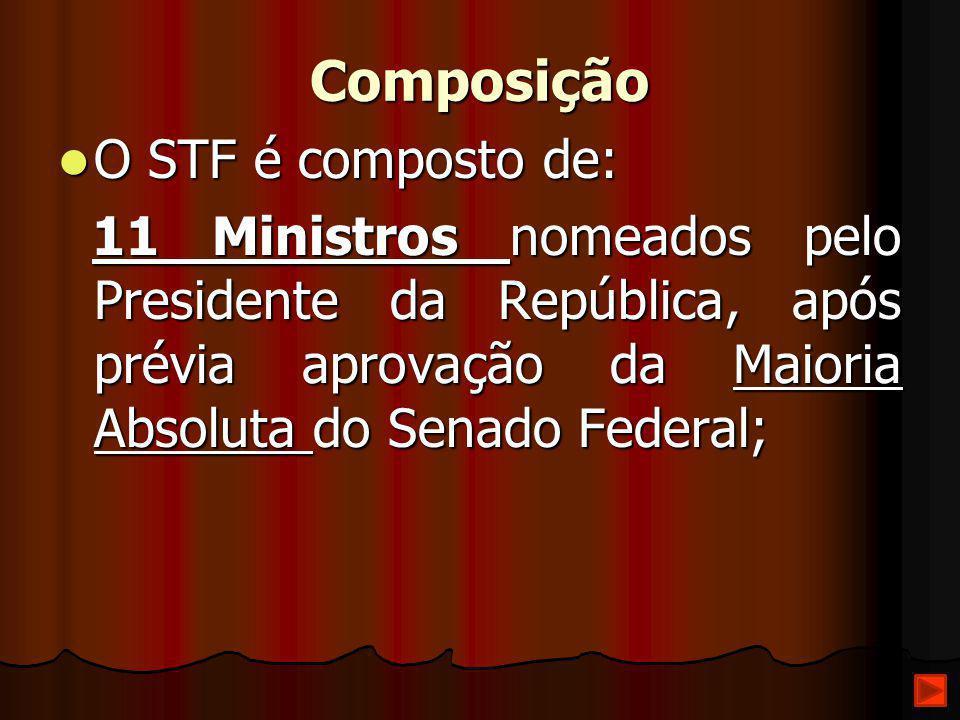 Composição O STF é composto de: O STF é composto de: 11 Ministros nomeados pelo Presidente da República, após prévia aprovação da Maioria Absoluta do