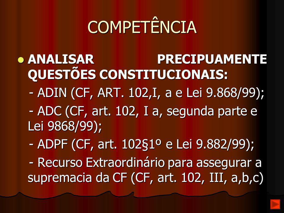 COMPETÊNCIA ANALISAR PRECIPUAMENTE QUESTÕES CONSTITUCIONAIS: ANALISAR PRECIPUAMENTE QUESTÕES CONSTITUCIONAIS: - ADIN (CF, ART. 102,I, a e Lei 9.868/99
