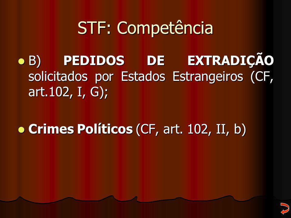 STF: Competência B) PEDIDOS DE EXTRADIÇÃO solicitados por Estados Estrangeiros (CF, art.102, I, G); B) PEDIDOS DE EXTRADIÇÃO solicitados por Estados E