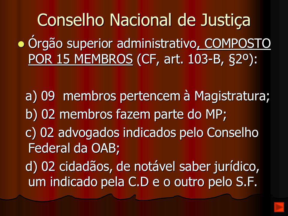 Conselho Nacional de Justiça Órgão superior administrativo, COMPOSTO POR 15 MEMBROS (CF, art. 103-B, §2º): Órgão superior administrativo, COMPOSTO POR