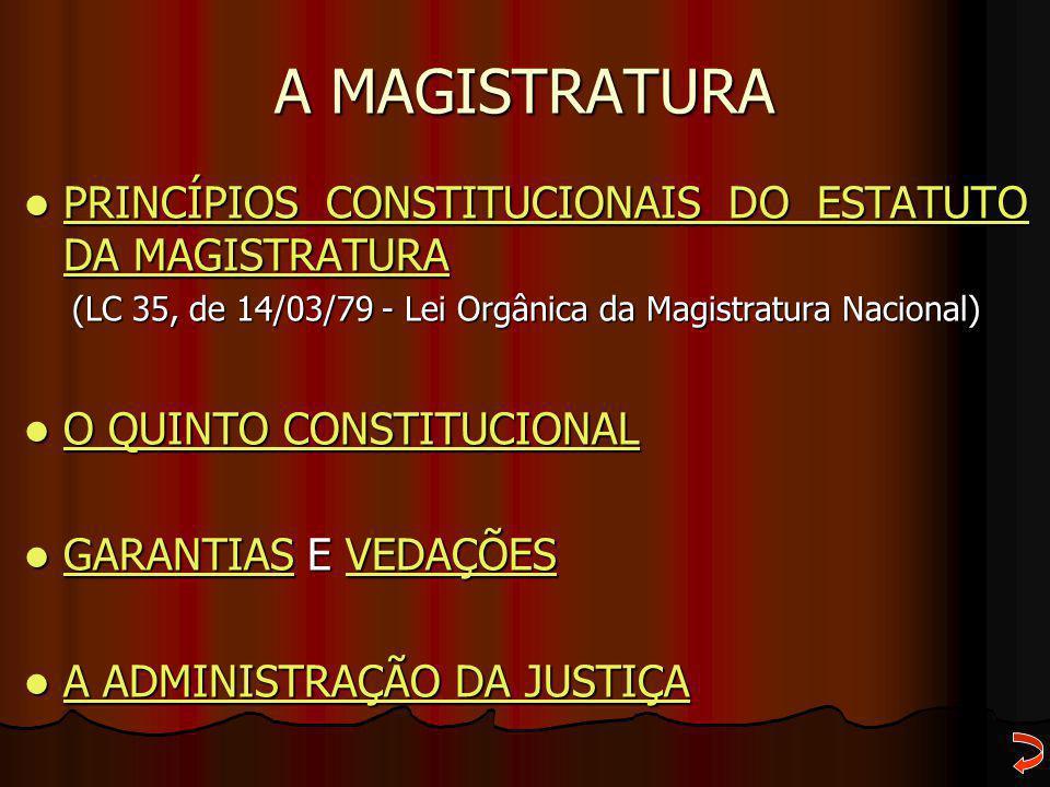 A MAGISTRATURA PRINCÍPIOS CONSTITUCIONAIS DO ESTATUTO DA MAGISTRATURA PRINCÍPIOS CONSTITUCIONAIS DO ESTATUTO DA MAGISTRATURA PRINCÍPIOS CONSTITUCIONAI