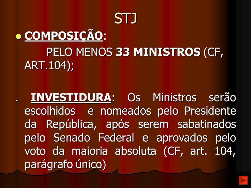 STJ COMPOSIÇÃO: COMPOSIÇÃO: PELO MENOS 33 MINISTROS (CF, ART.104); PELO MENOS 33 MINISTROS (CF, ART.104);. INVESTIDURA: Os Ministros serão escolhidos