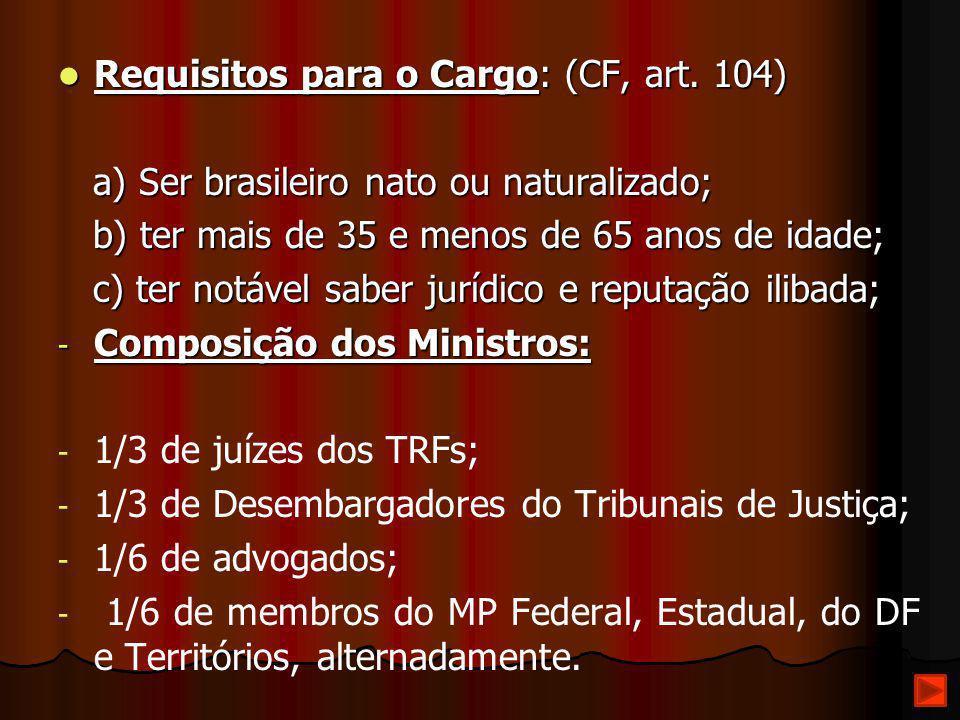 Requisitos para o Cargo: (CF, art. 104) Requisitos para o Cargo: (CF, art. 104) a) Ser brasileiro nato ou naturalizado; a) Ser brasileiro nato ou natu