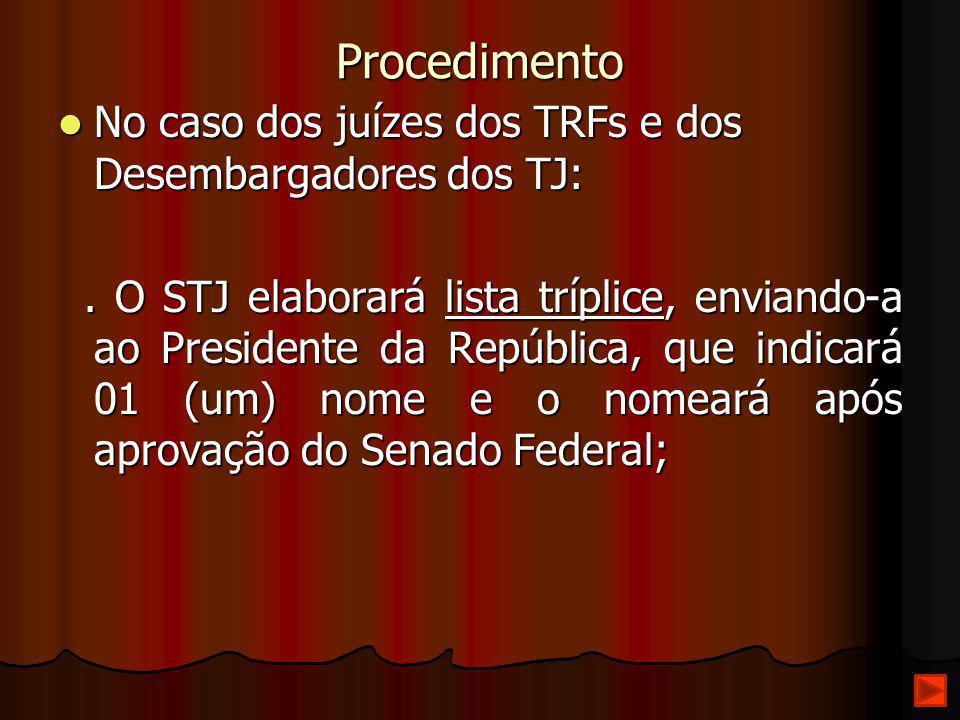 Procedimento No caso dos juízes dos TRFs e dos Desembargadores dos TJ: No caso dos juízes dos TRFs e dos Desembargadores dos TJ:. O STJ elaborará list