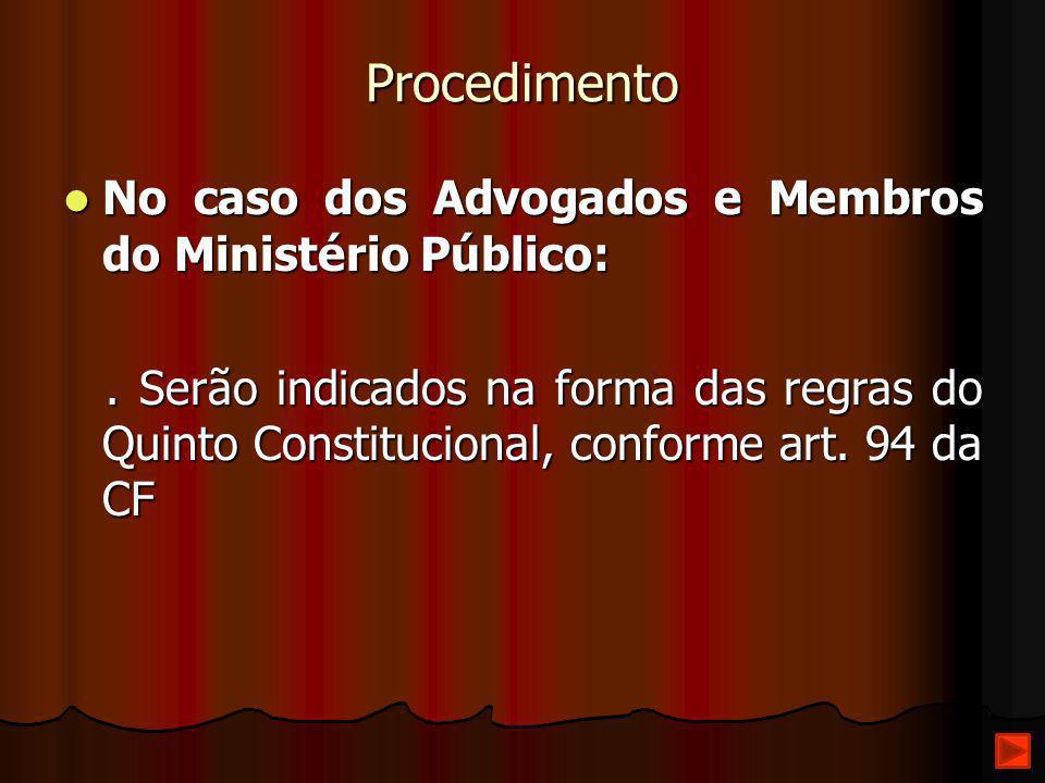 Procedimento No caso dos Advogados e Membros do Ministério Público: No caso dos Advogados e Membros do Ministério Público:. Serão indicados na forma d