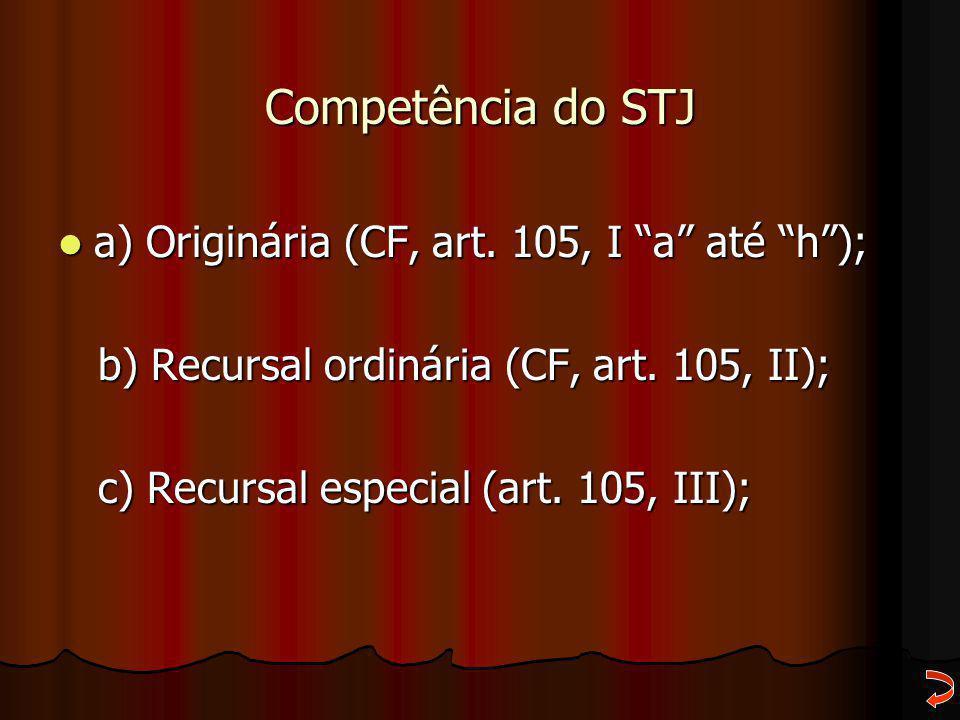 """Competência do STJ a) Originária (CF, art. 105, I """"a"""" até """"h""""); a) Originária (CF, art. 105, I """"a"""" até """"h""""); b) Recursal ordinária (CF, art. 105, II);"""