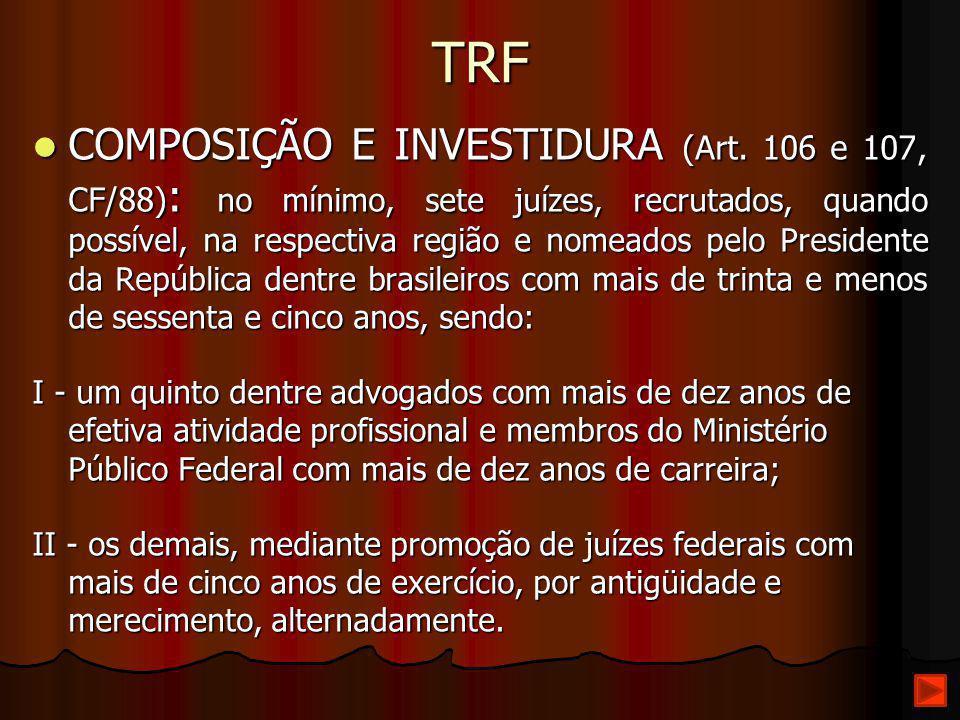 TRF COMPOSIÇÃO E INVESTIDURA (Art. 106 e 107, CF/88) : no mínimo, sete juízes, recrutados, quando possível, na respectiva região e nomeados pelo Presi
